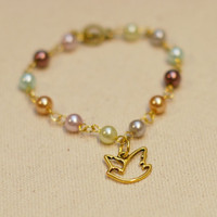 Dove & Pearls Bracelet - Gold Dove Charm on Multi-Colored Pearl Bracelet w/ Gold Toggle Closure