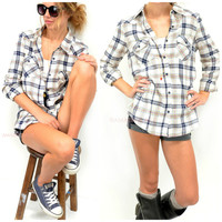 SZ LARGE Cabin Sleepover Ivory Flannel