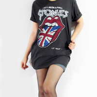 THE ROLLING STONES Tongue Lip Design Union Jack Black T-Shirt Women T-Shirt Men T-Shirt Unisex T-Shirt Short Sleeve T-Shirt Tee Shirt Size S