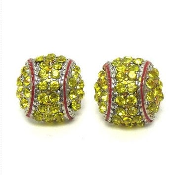 Crystal 'Bling' Rhinestone Softball Stud Earrings