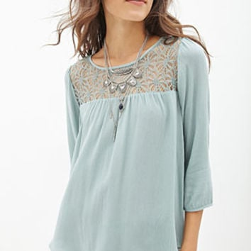 Lace-Paneled Woven Top