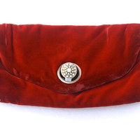 Vintage Red Velvet Clutch by GDK