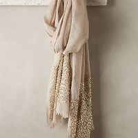 Glimmered Wool-Silk Scarf by Anthropologie Beige One Size Scarves