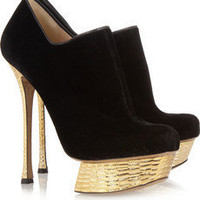 Nicholas Kirkwood | Velvet and hammered metallic leather ankle boots | NET-A-PORTER.COM