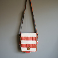 vintage 80s nautical red and white striped sling purse