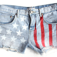 High Waisted Denim American Flag Themed Shorts Urban