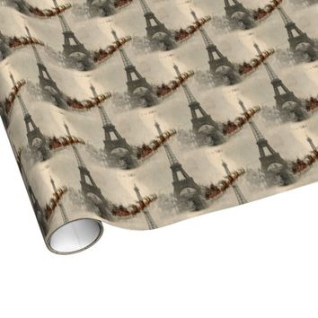 Vintage Santa over Paris Christmas Gift Wrap