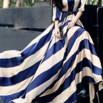Blue Stripe Long Sleeves Maxi Dress