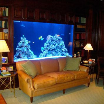 Living room with an aquarium wall in the house - Home Room Designs | Decoration Interior Design Ideas