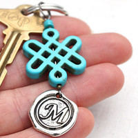 Personalized Keychain, Initial Keychain, Lucky Chinese Knot, Monogram Keychain, Wax Seal, Turquoise Jewelry, Gift for man, Good Luck Charm