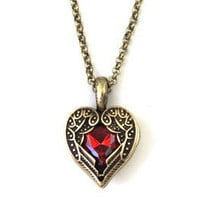 Brief paragraph red hearts necklaces, angel wings
