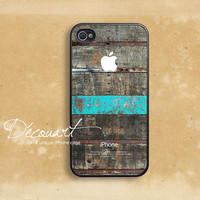 iPhone 4 case, iPhone 4s case, case for iPhone 4, wood pattern mint stripe with apple logo B219