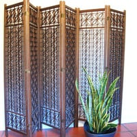 Vintage DANISH MODERN Teak Wood GEOMETRIC Freestanding Screen Room Divider