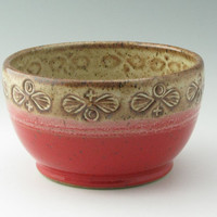Handmade 1 Quart Mixing Bowl or Family Serving in Soft Tan and Red with Hand Stamped Pattern, Ready to Ship