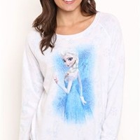 Long sleeve reversible interlock shirt with Frozen Elsa allover screen