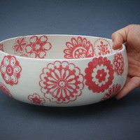 Red Retro Serving Bowl
