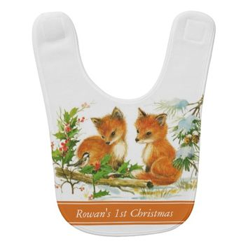 Baby Foxes First Christmas Baby Bib