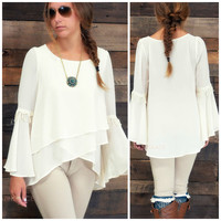 Naples Cottage Light Taupe Bell Sleeve Top