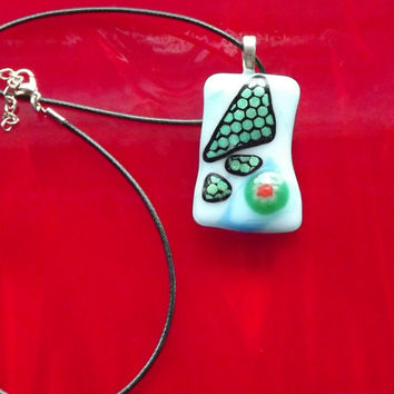 Handmade green blue red Fused Glass Pendant