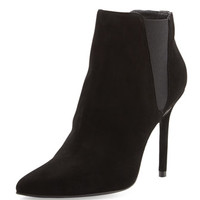 Stuart Weitzman Apogee Suede Point-Toe Ankle Boot, Black