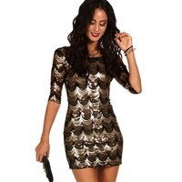 Black And Gold Scalloped Sequin Dress