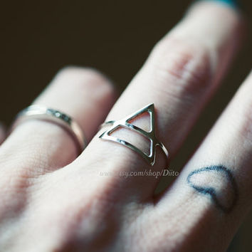 Size 5.5, Sterling Silver Triangle Ring, Handmade Jewelry, Thin Rings, Simple Rings, Geometric Ring, Minimalist Ring, Ready To Ship!