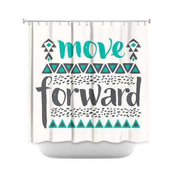 Hipster Bathroom Shower Curtain – Move Forward Quote Great for Adult and Kids Bathroom
