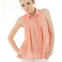 BUTTON DOWN CHIFFON TOP @ KiwiLook fashion