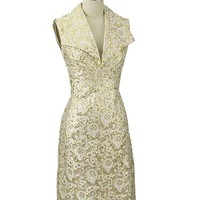 1960's Mod Mad Men Gold Metallic Party Dress