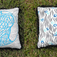 """Upcycled Teal Tshirt """"Body Project"""" Pillow with Black Fringe"""