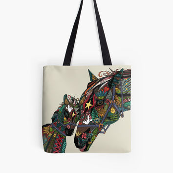horse love stone tote bag