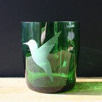 Recycled Drinking Glasses - Hummingbird Lowballs