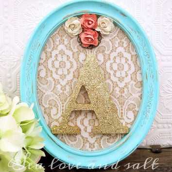 Pink and Mint Nursery Decor Baby Girl Nursery Art Shabby Flowers Lace Personalized Wall Art