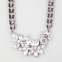 Full Tilt Floral Stone Chain Necklace Hematite One Size For Women 24827518901