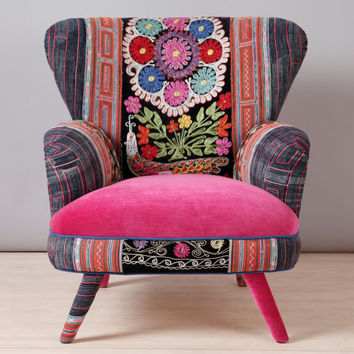 Suzani armchair - pink fever
