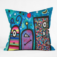 Fresh Artists Lovely Creatures Outdoor Throw Pillow