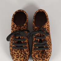 Leopard Suede Lace Up Round Toe Sneaker