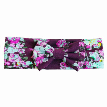 Plum Floral Bow Headband
