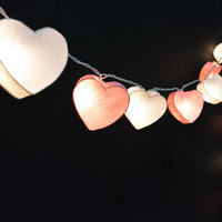 35 Lights  - 2 Color White and Pink Heart Mulberry paper String Lights Fairy Lights Patio Lights Wedding Lights Decoration Lights