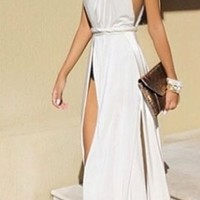 White One Shoulder Strap Wrapped Open Back Gown Dress Backless Sexy Maxi Prom Slit Party Homecoming