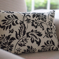 Pillow Cream Cotton with Black Graphic Floral Print