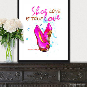 Shoes fashion illustration poster, Pink and gold glitter shoe art, Wall art, titled- Shoe love is true love