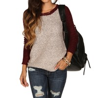 Burgundy Fuzzy Raglan Sweater