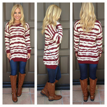 Lose Your Cool Striped Sweater  CREAM  amp BURGUNDY