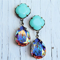Aurora Borealis Opaque Mint Swarovski Crystal Pastel Rhinestone Earrings Post Dangle Earrings Gwenevere Mashugana