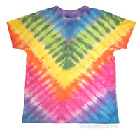 Adult Small Pastel V Pleated Tie Dye Shirt