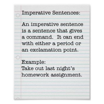 Types of Sentences: Imperative Sentences
