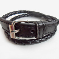 Jewelry bangle leather bracelet buckle bracelet woven bracelet  women bracelet men bracelet made of  leather woven metal buckle  SH-2196