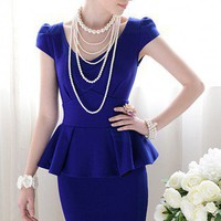Forever Classy Lady. Royal Blue Peplum Dress. Work Dress Cocktail