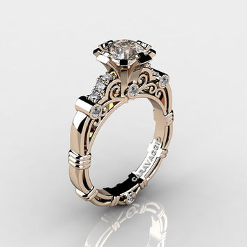 Art Masters Caravaggio 14K Rose Gold 1.0 Ct Champagne and White Diamond Engagement Ring R623-14KRGDCHD